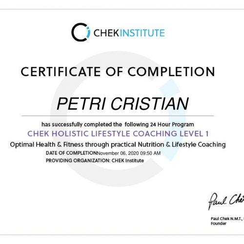 holistic certificate